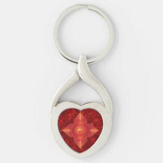 Root Chakra Twisted Heart Metal Keychain
