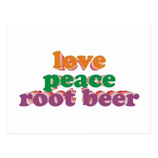 root love peace beer tarjeta postal