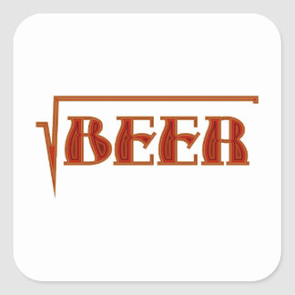 root more beer square sticker
