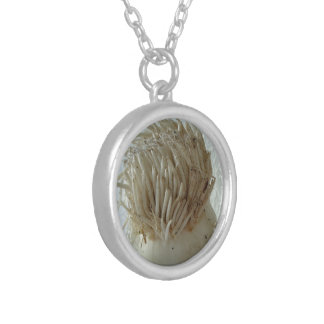 Root of Leek, Vegetables, Healthy Raw White Food Round Pendant Necklace