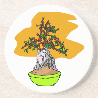 Root Over Rock Berry Bonsai Graphic Image Coasters