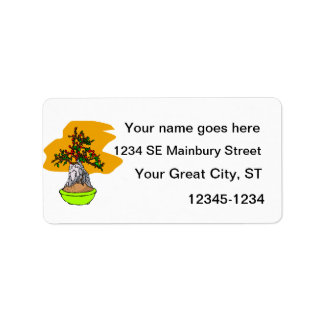 Root Over Rock Berry Bonsai Graphic Image Address Label