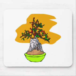Root Over Rock Berry Bonsai Graphic Image Mouse Pad
