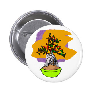 Root Over Rock Berry Bonsai Graphic Image Pinback Button
