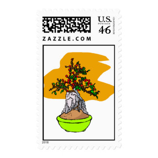 Root Over Rock Berry Bonsai Graphic Image Postage Stamp