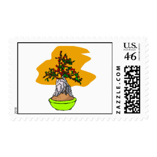 Root Over Rock Berry Bonsai Graphic Image Postage