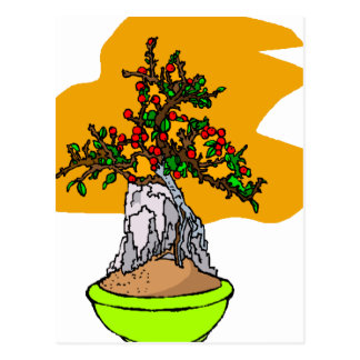 Root Over Rock Berry Bonsai Graphic Image Postcard