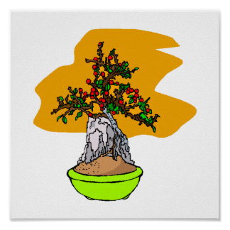 Root Over Rock Berry Bonsai Graphic Image Poster