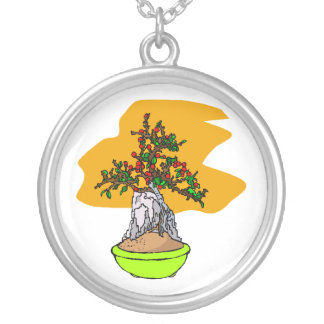 Root Over Rock Berry Bonsai Graphic Image Round Pendant Necklace