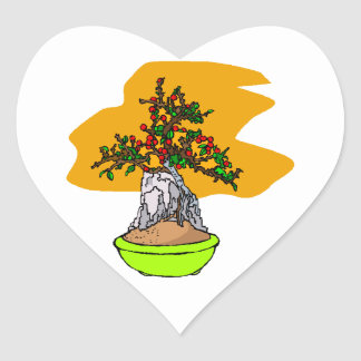 Root Over Rock Berry Bonsai Graphic Image Heart Sticker