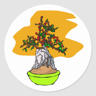 Root Over Rock Berry Bonsai Graphic Image Round Sticker