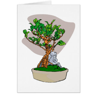 Root Over Rock Bonsai Grey Back Graphic Image Card