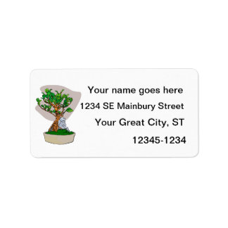 Root Over Rock Bonsai Grey Back Graphic Image Label