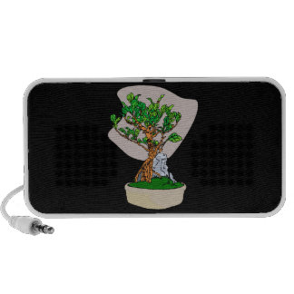 Root Over Rock Bonsai Grey Back Graphic Image Notebook Speakers