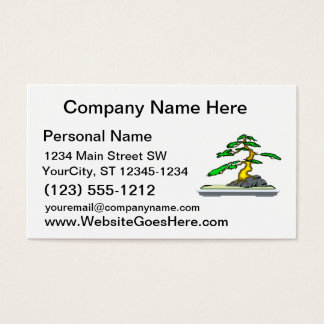 Root Over Rock Bonsai Old in Grey Tray Business Card