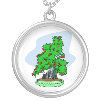 Root Over Rock Flowering Bonsai Round Pendant Necklace