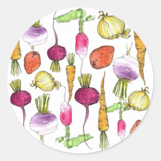 Root Vegetable Sticker Watercolor Illustration Art
