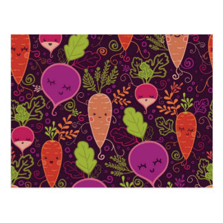 Root vegetables characters pattern postcard
