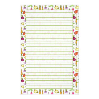 Root Vegetables Drawing Garden Lined Stationery