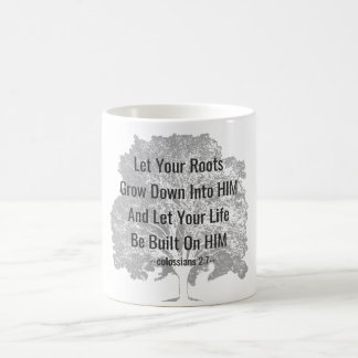 Rooted and Built Up in HIM - Bible Quote on Tree Coffee Mug