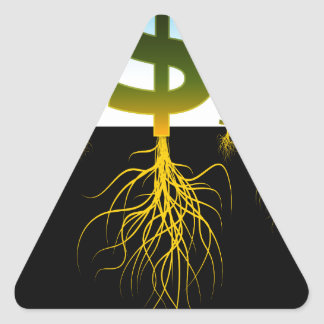 Rooted Dollar Signs Triangle Sticker