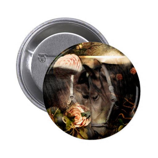 Rooted in God's Love (Horse Button)