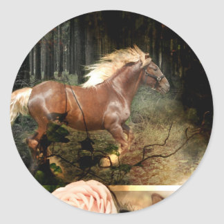 Rooted in God's Love (Horse Stickers) Classic Round Sticker