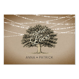 Rooted in Love Rustic Tree & Lights Wedding RSVP Card