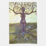 """Rooted"" Tree Goddess Fantasy Art Hand Towel"