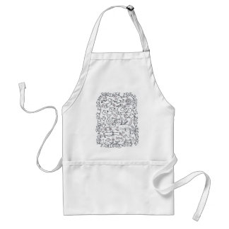 ROOTHY'S ZOO OVERALL THREE by Ruth I. Rubin Adult Apron