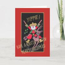 Rootin Tootin Cowboy Santa Holiday Card