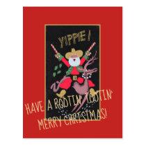 Rootin Tootin Cowboy Santa Postcard