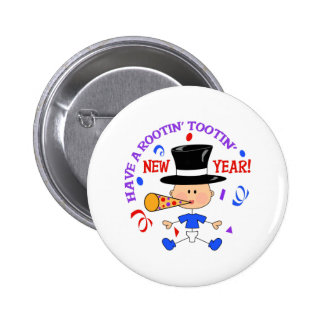 ROOTIN TOOTIN NEW YEAR PINBACK BUTTONS
