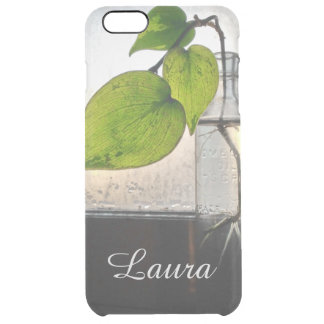 Rooting Plant in a Antique Clear Glass Bottle Clear iPhone 6 Plus Case