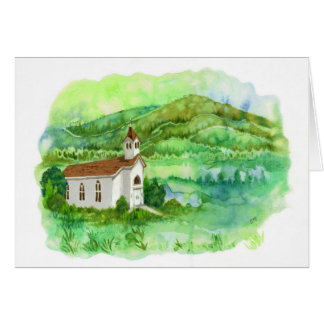 Roots - Country Church Landscape Art Card