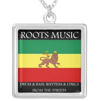 Roots Music Reggae Rasta Silver Necklace