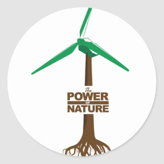 Roots of green energy classic round sticker