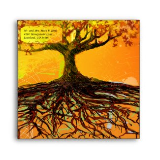 Roots of Love Fall Tree Wedding Envelopes envelope