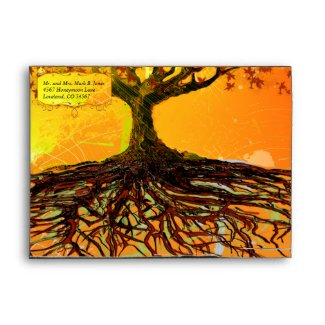 Roots of Love Fall Tree Wedding Envelopes 5x7 envelope