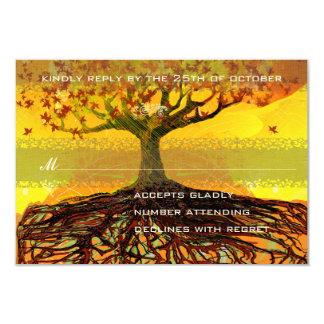 Roots of Love Romantic Tree Wedding RSVP Card