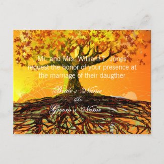 Roots of Love Wedding Invitations Original Art postcard