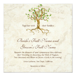 Roots of tree of Antiqued movement the marriage Card