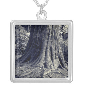 Roots Tree Square Pendant Necklace