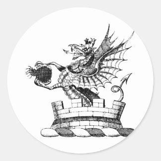 Ropa 6 del dragón etiquetas redondas