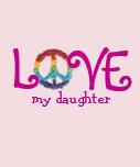 Ropa a juego de la mamá y de la hija - paz y amor  camisetas