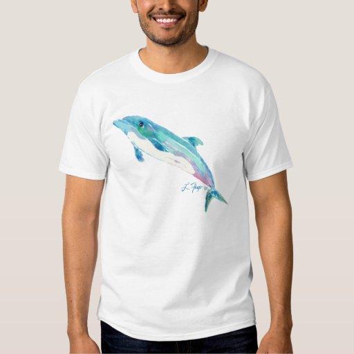 Ropa azul de la camiseta del arte del delfín playera