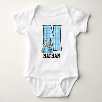 """Ropa azul del bebé del monograma """"N"""" del oso Mameluco De Bebé"""
