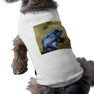 Ropa azul del mascota de la rana del dardo del ven playera sin mangas para perro