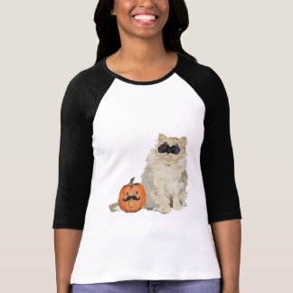 Ropa blanca de la mascarada del gato camisetas