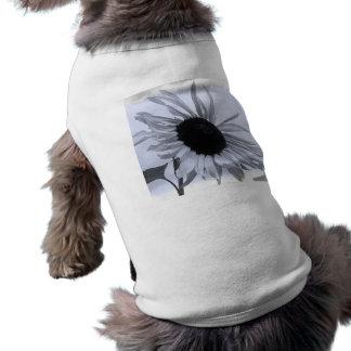 Ropa blanco y negro del mascota del girasol playera sin mangas para perro